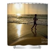 Jogging At Sunrise By Kaye Menner Shower Curtain