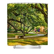 Jogging In City Park Shower Curtain