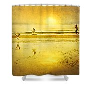 Jogging On Beach With Gulls Shower Curtain