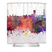 Johannesburg Skyline In Watercolor Background Shower Curtain
