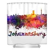 Johannesburg Skyline In Watercolor Shower Curtain