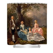 John And Ann Gravenor With Their Daughters Shower Curtain
