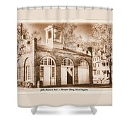 John Browns Fort - Harpers Ferry West Virginia - Modern Day Sepia Shower Curtain by Michael Mazaika