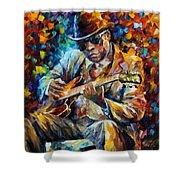 John Lee Hooker - Palette Knife Oil Painting On Canvas By Leonid Afremov Shower Curtain