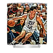 John Stockton Shower Curtain by Florian Rodarte