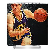 John Stockton Shower Curtain by Taylan Apukovska