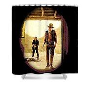 John Wayne And Jack Elam Publicity Photo Rio Lobo 1970 Old Tucson Shower Curtain