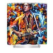 Johnny Cash - Palette Knife Oil Painting On Canvas By Leonid Afremov Shower Curtain
