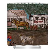 Johnsons Milk Wagon Pulled By A Horse  Shower Curtain