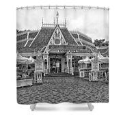 Jolly Holiday Cafe Main Street Disneyland Bw Shower Curtain