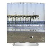 Jolly Roger Pier On Topsail Beach Nc Shower Curtain