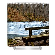 Jones Mill Run Dam Relaxing View Shower Curtain