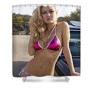 Jordan Pink Metallic Bikini Shower Curtain