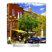 Jos Pappos Furs Street Scene Suburban Shops And Store Fronts Sherbrooke Montreal Carole Spandau Art  Shower Curtain