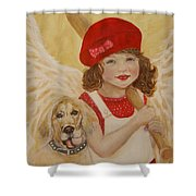 Joscelyn And Jolly Little Angel Of Playfulness Shower Curtain by The Art With A Heart By Charlotte Phillips