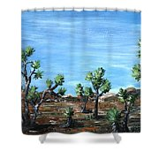 Joshua Trees Shower Curtain by Anastasiya Malakhova