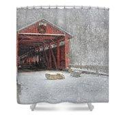 Josiah Hess Covered Bridge Shower Curtain