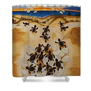 Journey To The Millennium Hand Embroidery Shower Curtain