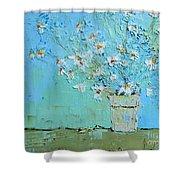 Joyful Daisies, Flowers, Modern Impressionistic Art Palette Knife Oil Painting Shower Curtain