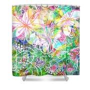 Joyful Flowers By Jan Marvin Shower Curtain