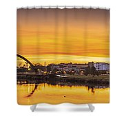 Jubia Bridge Panorama Neda Naron Galicia Spain Shower Curtain