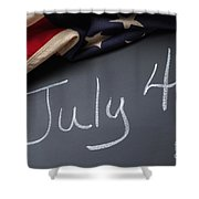 July 4 Sign On Chalkboard Shower Curtain