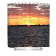 July 4th Sunset Shower Curtain by John Telfer