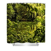 July Tranquil Indian Lake Shower Curtain
