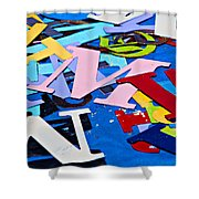 Jumble Of Letters Shower Curtain