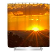 Jump Off Rock Sunset Flare Shower Curtain