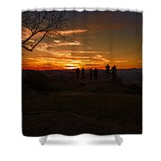 Jump Off Rock Sunset Silhouettes Shower Curtain