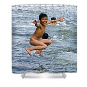 Jumping In The River Shower Curtain