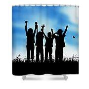 Jumping Kids Shower Curtain