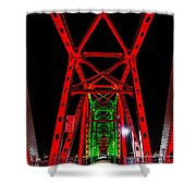 Junction Bridge - Red Shower Curtain