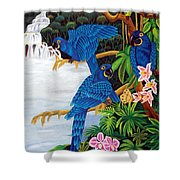 Jungle Chats Hand Embroidery Shower Curtain