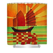 Junk On A Sea Of Green Shower Curtain by Tracey Harrington-Simpson