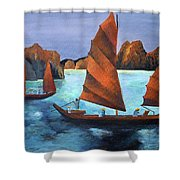 Junks In The Descending Dragon Bay Shower Curtain