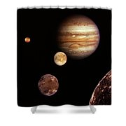 Jupiter And The Moons Shower Curtain