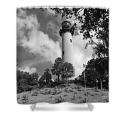 Jupiter Inler Lighthouse In Black And White Shower Curtain