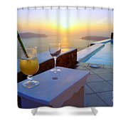 Just Before Sunset In Santorini Shower Curtain