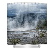Just Before The Storm - Mammoth Hot Springs Shower Curtain