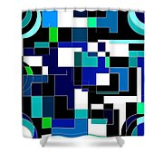 Just Colors And Lines Blue Shower Curtain