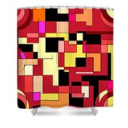 Just Colors And Lines Red Shower Curtain
