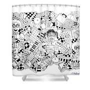 Just Nerdy Things Shower Curtain by Chelsea Geldean