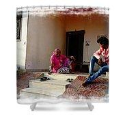 Just Sitting 3 - Family Portrait - Indian Village Rajasthani Shower Curtain