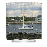 Just Waiting At Rye Harbor Shower Curtain