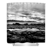 Kaikoura Coast New Zealand In Black And White Shower Curtain