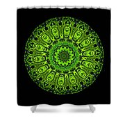 Kaleidoscope Triptych Of Glowing Circuit Boards Shower Curtain