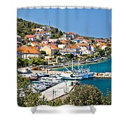 Kali Small Fishermen Town Harbor Shower Curtain