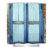 Kampot Blue Shutters Shower Curtain